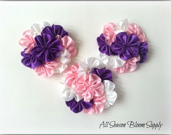 "Cluster Flowers, Satin Ribbon Flowers, White/Pink/Purple Flowers, 3.2""-3.5"" , DIY, Headbands, Accessories, HairBows"