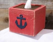 Anchor Tissue Kleenex Box Cover Nautical Beach Ocean Bathroom Decor Handmade Naturally Aged Distressed Wood Red with Navy Blue Anchor
