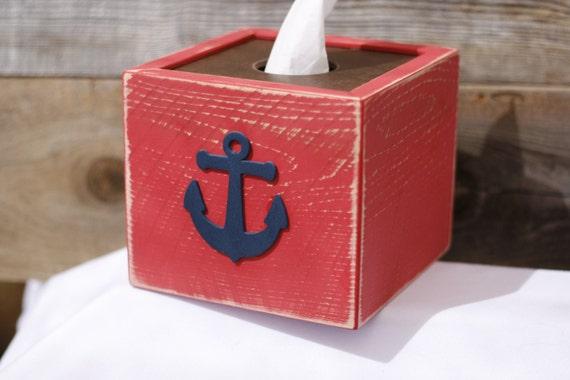 Anchor tissue kleenex box cover nautical beach ocean by signshack - Beach themed tissue box cover ...