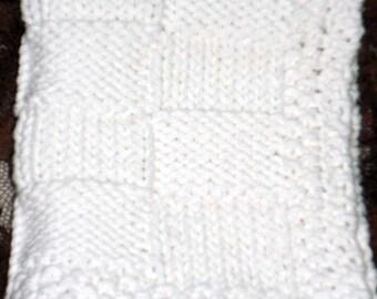 Hand Knit Washcloth / Basket Weave Design / White