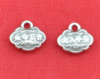10 pcs of Antique Silver Chinese Long life Lock Pendants Charms 10x12mm Double Sided---G1390