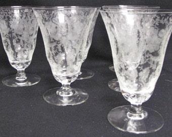 ELEGANT NAVARRE Pattern FOSTORIA Iced Tea Glasses Set Of Six Etched Florals