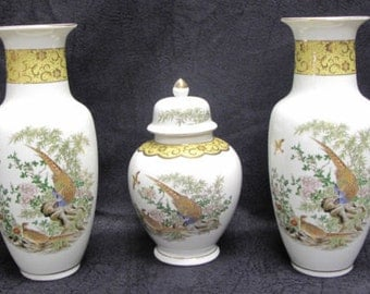 Vintage Japanese Urn and Vases Set with Pheasants, Bamboo, Gold Detailing