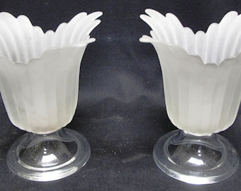 Pair of Art Deco Frosted Glass Candle Holders