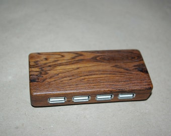 Wooden USB 2.0 3.0 hub, port replicator, Walnut, Cherry, Padauk, Sapele, Iroko, personalised engraving, Christmas present, Birthday gift