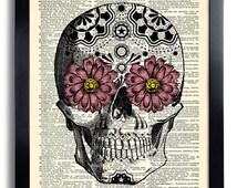Day of the Dead Flower Mexican Skull Gothic Skull Poster, Vintage Anatomy Art, Flower Artwork, Anatomy Skull Decor, Skeleton Wall Decal 200