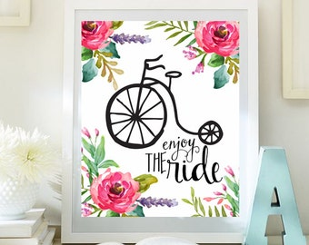 Enjoy the Ride print desk decor quote posters desk art printable Bike Print Printable Wall Art dorm decor office instant download 63-66