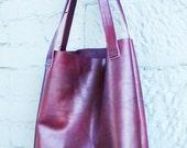 Leather shopping bag shopper