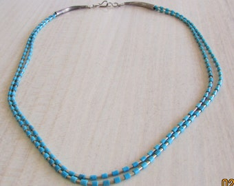 """Liquid Sterling Silver and Turquoise Heshi 2 Strand Necklace 16 1/2"""""""