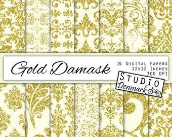 Gold Damask Digital Paper - Gold Glitter Patterned Paper - Glitter Floral Backgrounds - Commercial Use - Instant download
