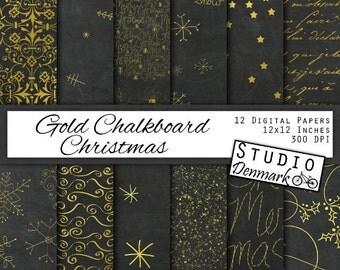 Gold Chalkboard Christmas Digital Paper - Snowflakes / Snow / Stars / Script / Trees / Stardust - Chalkboard Patterns - Instant Download