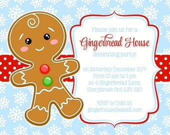 Gingerbread Party Invitation, Christmas Party invitation, Gingerbread invitation, Christmas invitation, PRINTABLE