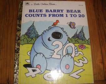 "Vintage Little Golden Book, ""Blue Barry Bear Counts From 1 to 20"" copyright 1991 Vintage Children's Book"