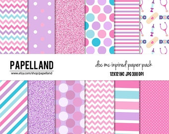 Doc Mc Inspired Digital Paper Pack, Pink, Purple, Blue Digital Paper 12 x 12  for personal and commercial use / instant download