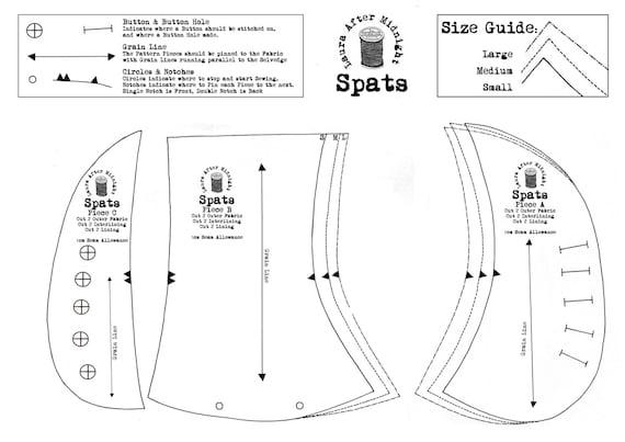 Dusken Spats PDF Sewing Pattern Victorian Edwardian Steampunk DIY Craft Kit