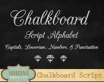 Chalkboard Script Alphabet - Chalk Style Letters, Numbers and Punctuation Clipart Set
