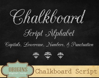 Chalkboard Script Alphabet - Chalk Style Letters, Numbers and Punctuation Clipart Set digital instant download commercial use