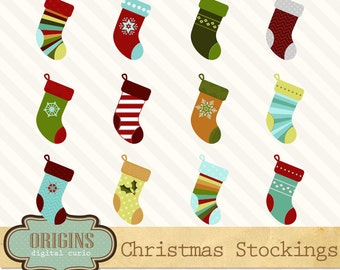 Christmas Stockings Clipart - Stocking Clip Art, Christmas Holiday PNG and Vector Christmas clipart Instant Download Commercial Use