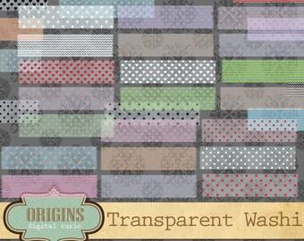 Transparent Digital Washi Tape - Pattern Scrapbook Embellishments PNG Clipart Chevron, Hearts, Stars, Polka Dots