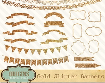 Gold Glitter Banners, Digital Labels, Frames, Tags, Bunting Banner Clipart, Gold Clipart, Scrapbook Embellishments PNG
