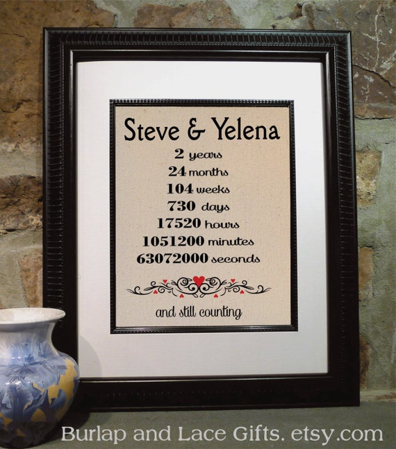 Cotton Wedding Anniversary Gift Ideas: Cotton Anniversary Gift Personalized Burlap Art Love