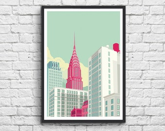Poster Chrysler Building New York Avenue #Pastel