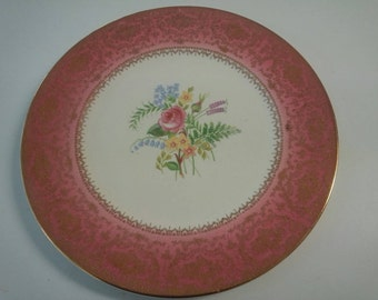 Vintage 1950's Imperial by Salem China Co Floral Plate with 23 Karat Gold Trim