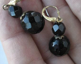 Black faceted bead earrings -- 99