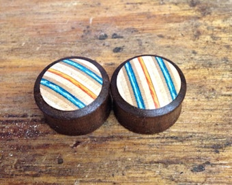 Wooden Plugs with Limited Edition Skateboard Inlay CONVEX FRONT