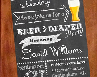 items similar to football beer  diaper party  man shower baby, Party invitations