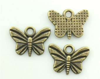 50pcs 11×7mm butterfly charms antique bronze tone pendant