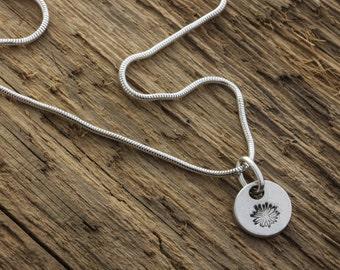 Silver Petal Pendant - Fine Silver Flower Necklace - Silver Floral Charm - Daisy Charm Necklace - Sterling Silver Necklace - Daisy Necklace