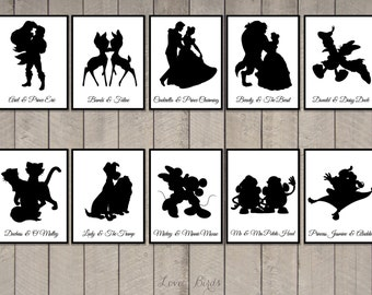 Disney Couple Cards Silhouette (tabel cards wedding) - set of 36 - two sizes: A2 and 5 x 7 inch - Digital file