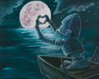 To The Moon and Back-Bot robot painting print