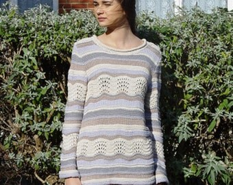 Multi-color Hand Knitted Women Pullover. Laced Exclusive Piece. Modern, Timeless.