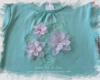 Beautiful 3D Frangipanis Machine Embroidery Designs + Frangipani Redwork and Colorwork Machine Embroidery Design Pack