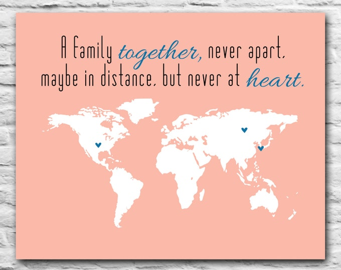 Personalized Family Print Long Distance Family Gift Print Custom World Map State Gift Family, Friend, Mom, Daughter, Valentines Gift From Us