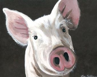 "Pig Print Instant Download ""Petunia"", digital download pig art"