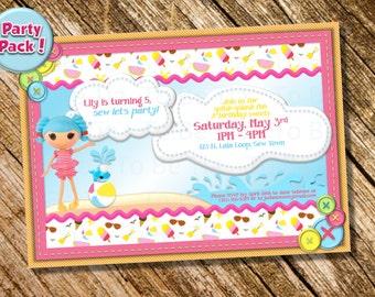 Customizable/Printable Girl's Lalaloopsy Swim/Splash Party Package