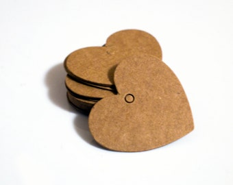 Small Heart Shaped Kraft Paper Tags