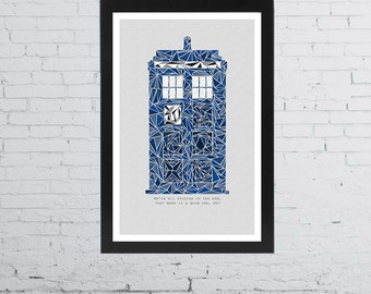 Doctor Who Tardis Minimalist Poster } 11 x 17 Inches
