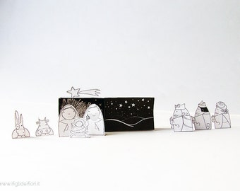 DIY Christmas Paper Nativity kit, Christmas crafts, Nativity colour and cut out set, Nativity scene, Paper crib, PDF Instant download