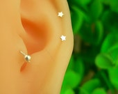 silver tiny heart/star/ cartilage earring, cartilage stud, helix stud,helix earring 20g, helix piercing