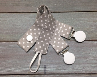 Pacifier Clip, Nuk, MAM, Soothie, Universal, baby boy, girl, grey white polka dot