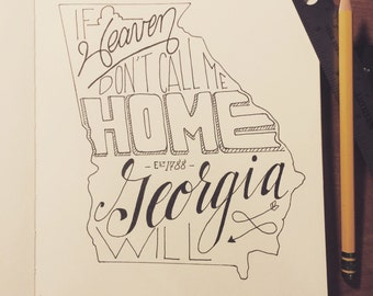 Handlettered Lone Bellow Lyrics in the State of Georgia, Print