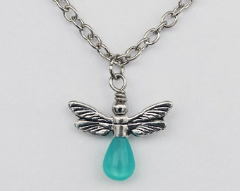 "Aqua Firefly pendant with 18"" chain"