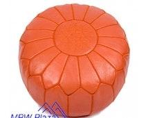 Orange Moroccan Leather Pouf/Ottoman - Sold UN-STUFFED