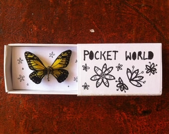 Yellow butterfly shrink plastic pin/brooch