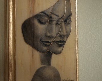 Double-Take - Illustration/ Wood Transfer (Made to order)
