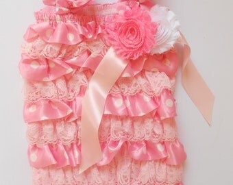 Pink dot  lace Romper with  bow on shoulder,Baby girls Romper, Wedding flower girl, Petti romper